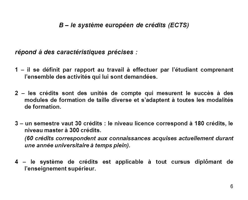 6 B – le système européen de crédits (ECTS) répond à des caractéristiques précises : 1 – il se définit par rapport au travail à effectuer par létudian