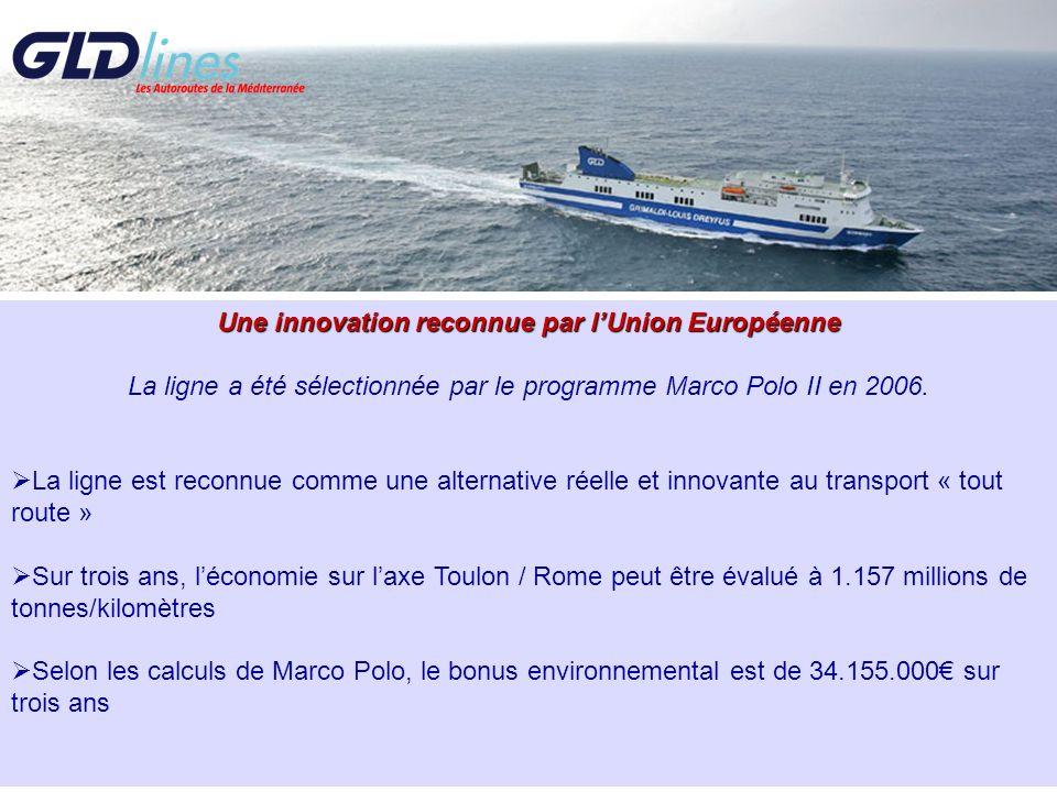 Une innovation reconnue par lUnion Européenne La ligne a été sélectionnée par le programme Marco Polo II en 2006. La ligne est reconnue comme une alte
