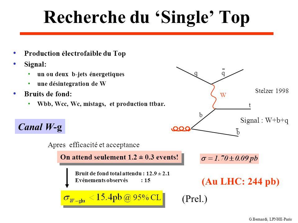 G.Bernardi, LPNHE-Paris Recherche du Single Top Stelzer 1998 Production électrofaible du Top Signal: un ou deux b-jets énergetiques une désintegration