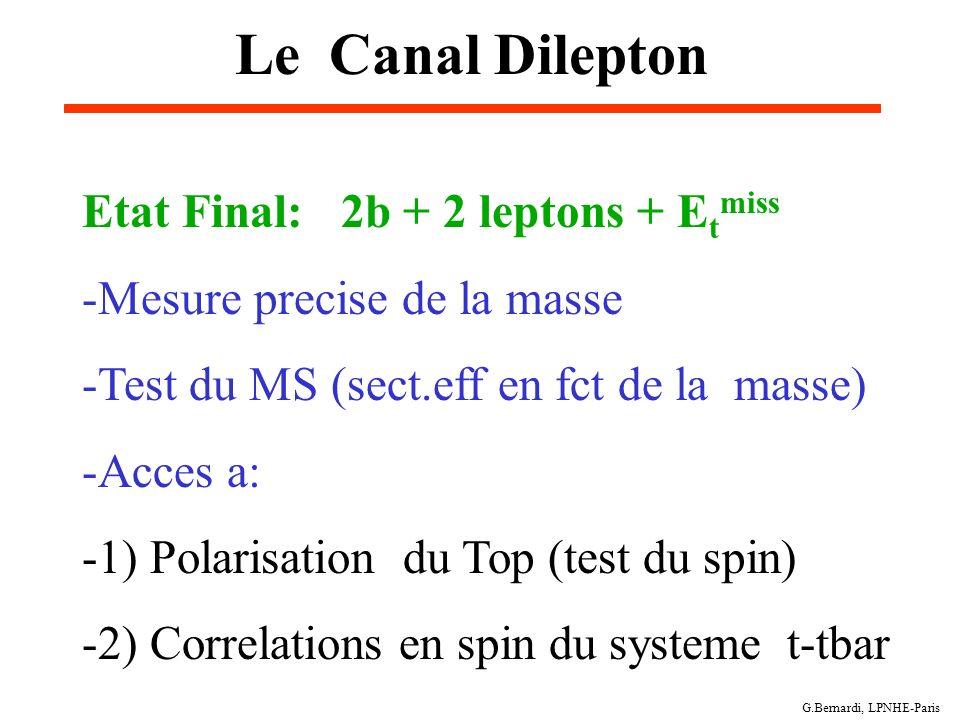 G.Bernardi, LPNHE-Paris Le Canal Dilepton Etat Final: 2b + 2 leptons + E t miss -Mesure precise de la masse -Test du MS (sect.eff en fct de la masse)