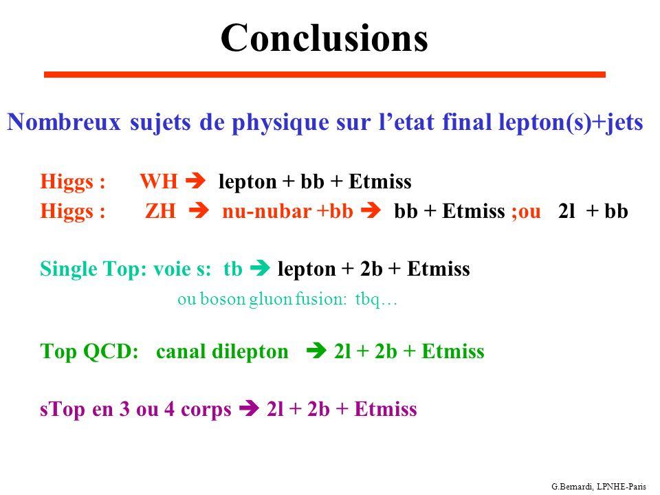 G.Bernardi, LPNHE-Paris Conclusions Nombreux sujets de physique sur letat final lepton(s)+jets Higgs : WH lepton + bb + Etmiss Higgs : ZH nu-nubar +bb