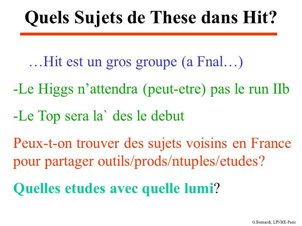 G.Bernardi, LPNHE-Paris Quels Sujets de These dans Hit? …Hit est un gros groupe (a Fnal…) -Le Higgs nattendra (peut-etre) pas le run IIb -Le Top sera