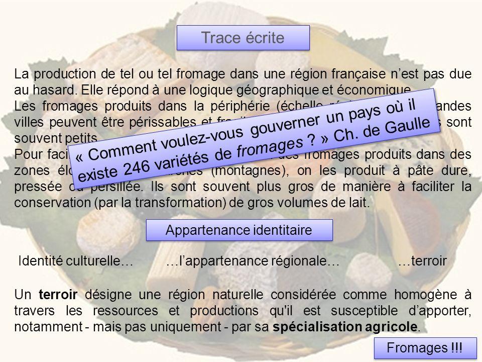 Trace écrite La production de tel ou tel fromage dans une région française nest pas due au hasard. Elle répond à une logique géographique et économiqu