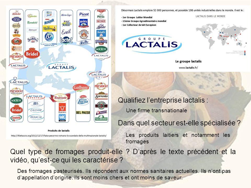 Qualifiez lentreprise lactalis : Dans quel secteur est-elle spécialisée ? Quel type de fromages produit-elle ? Daprès le texte précédent et la vidéo,