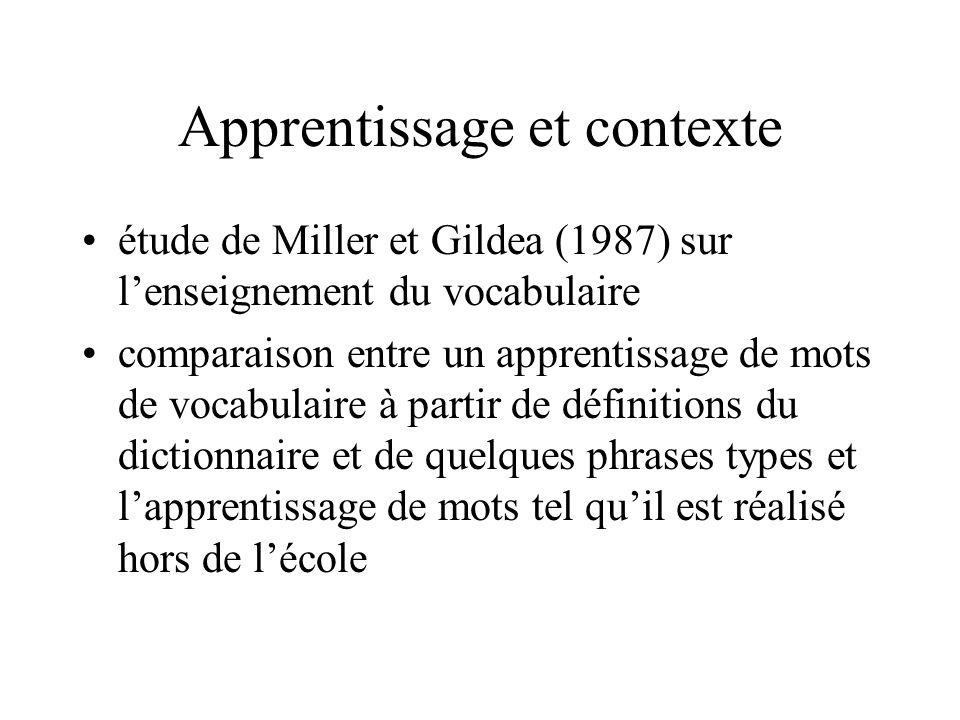 Apprentissage et contexte étude de Miller et Gildea (1987) sur lenseignement du vocabulaire comparaison entre un apprentissage de mots de vocabulaire