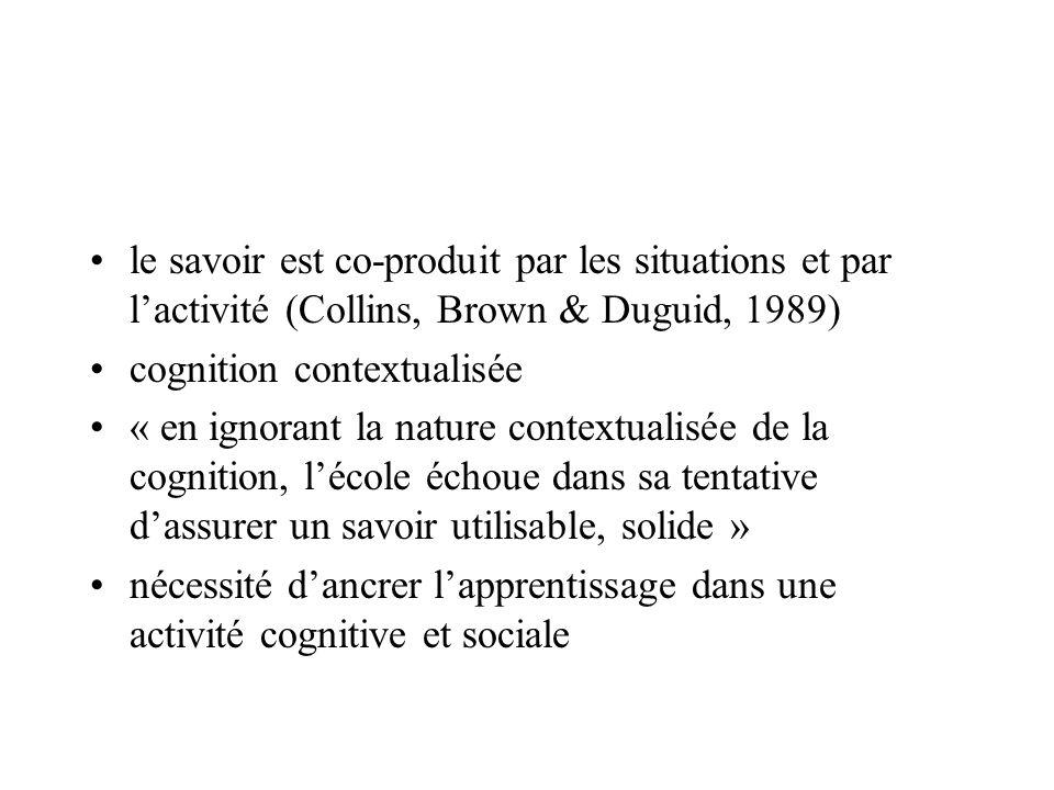 le savoir est co-produit par les situations et par lactivité (Collins, Brown & Duguid, 1989) cognition contextualisée « en ignorant la nature contextu