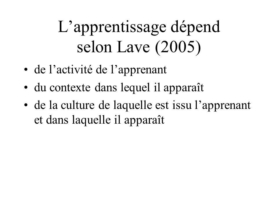 Lapprentissage dépend selon Lave (2005) de lactivité de lapprenant du contexte dans lequel il apparaît de la culture de laquelle est issu lapprenant e