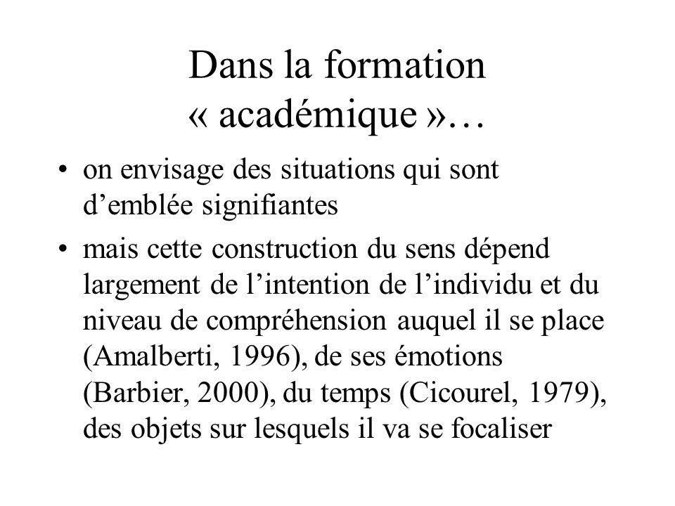 Dans la formation « académique »… on envisage des situations qui sont demblée signifiantes mais cette construction du sens dépend largement de lintent