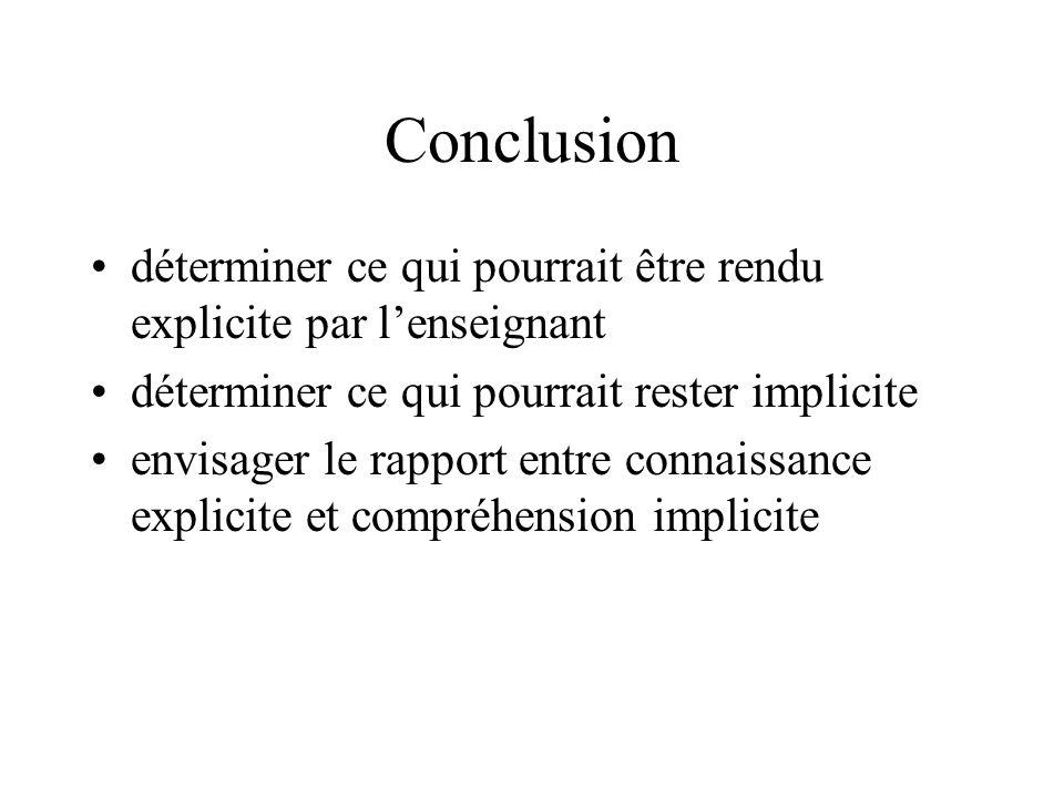 Conclusion déterminer ce qui pourrait être rendu explicite par lenseignant déterminer ce qui pourrait rester implicite envisager le rapport entre conn