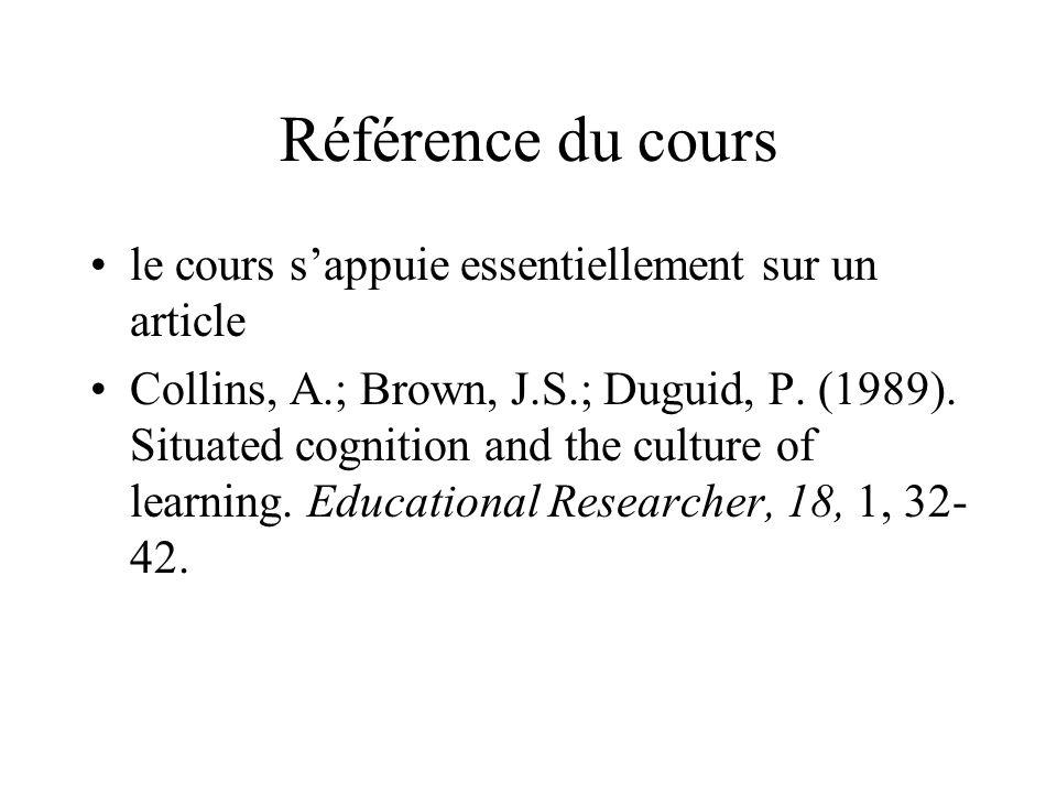 Référence du cours le cours sappuie essentiellement sur un article Collins, A.; Brown, J.S.; Duguid, P. (1989). Situated cognition and the culture of