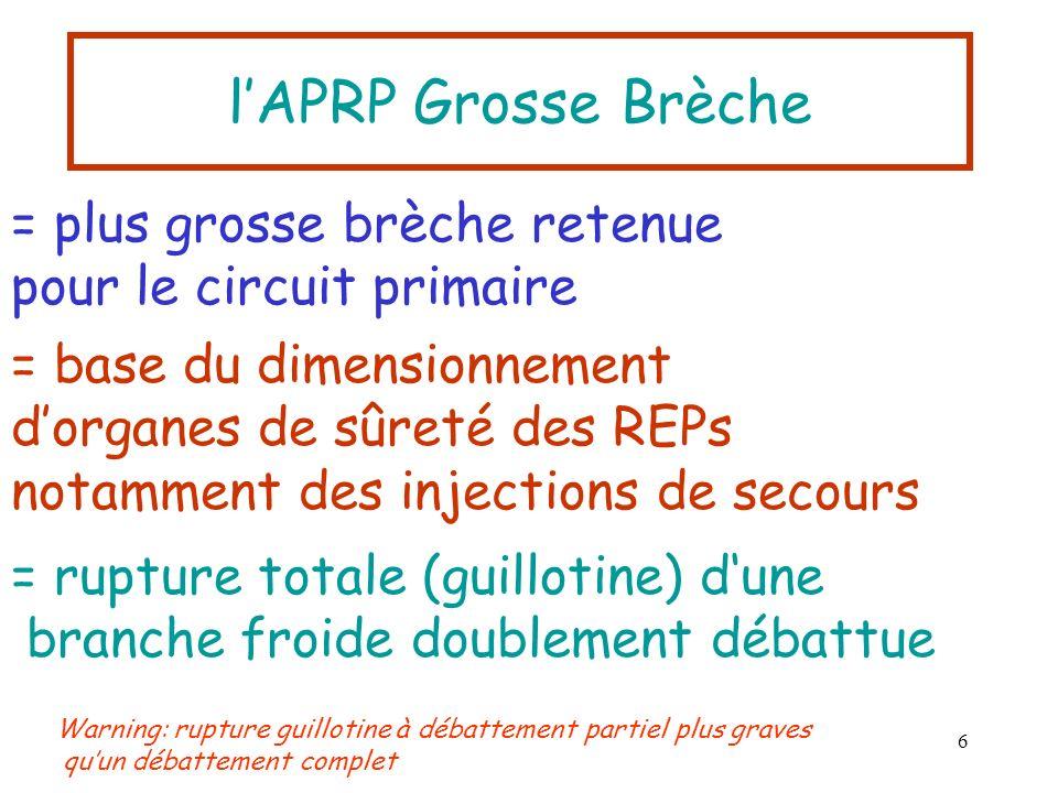 6 lAPRP Grosse Brèche = plus grosse brèche retenue pour le circuit primaire = base du dimensionnement dorganes de sûreté des REPs notamment des inject
