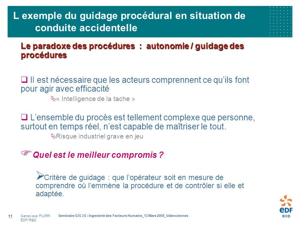 Genevieve FILIPPI EDF/ R&D Seminaire GIS 3S : Ingenierie des Facteurs Humains_13 Mars 2008_Valenciennes 11 L exemple du guidage procédural en situatio