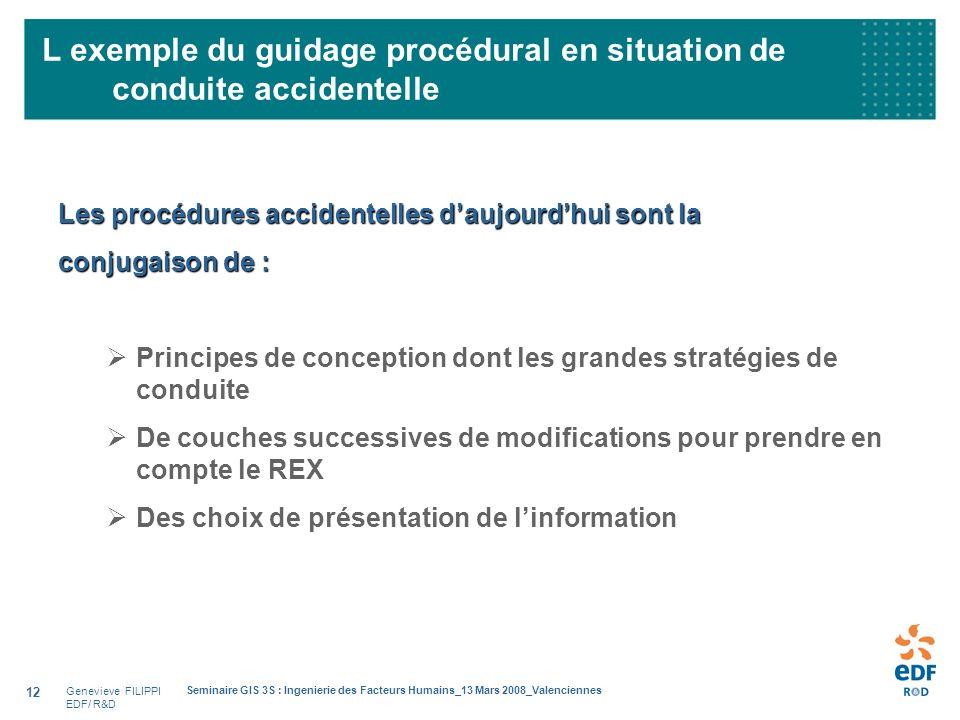 Genevieve FILIPPI EDF/ R&D Seminaire GIS 3S : Ingenierie des Facteurs Humains_13 Mars 2008_Valenciennes 12 Les procédures accidentelles daujourdhui so