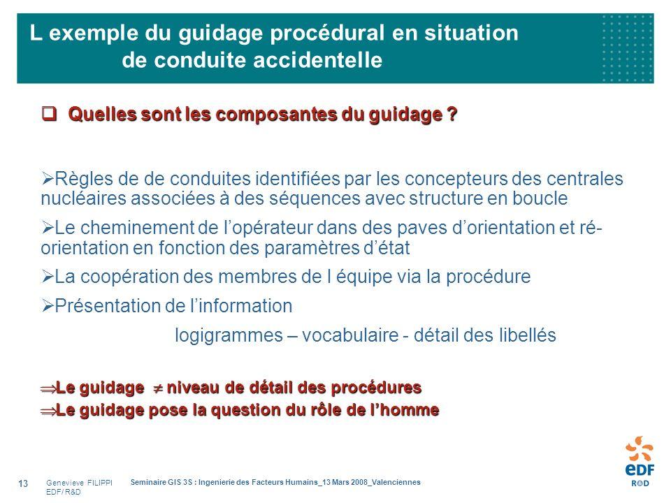 Genevieve FILIPPI EDF/ R&D Seminaire GIS 3S : Ingenierie des Facteurs Humains_13 Mars 2008_Valenciennes 13 L exemple du guidage procédural en situatio