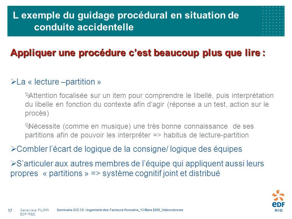 Genevieve FILIPPI EDF/ R&D Seminaire GIS 3S : Ingenierie des Facteurs Humains_13 Mars 2008_Valenciennes 17 L exemple du guidage procédural en situatio