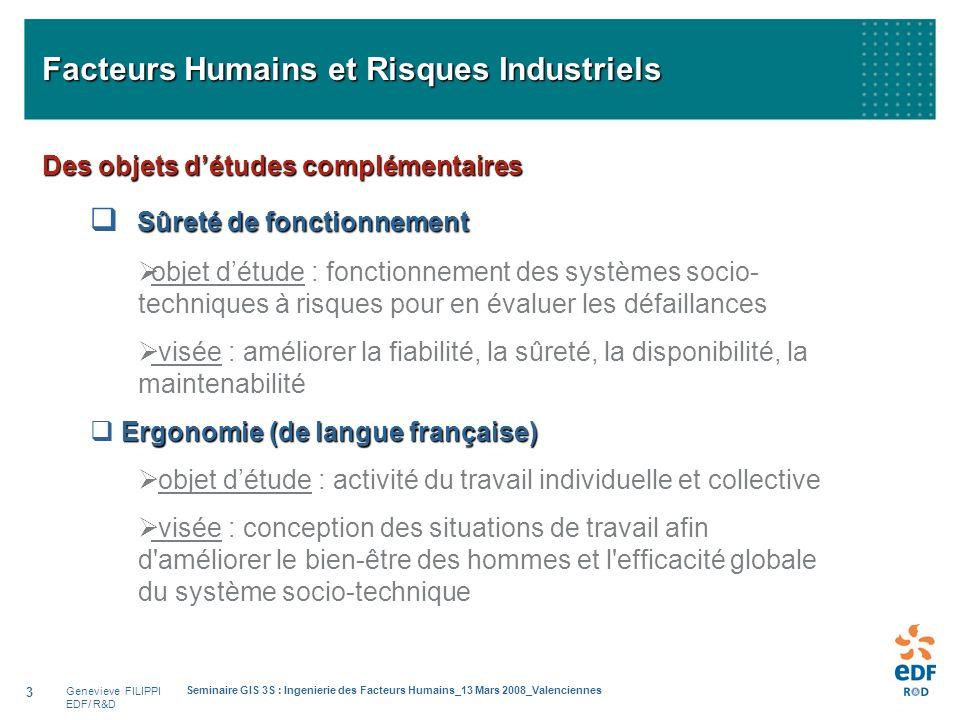 Genevieve FILIPPI EDF/ R&D Seminaire GIS 3S : Ingenierie des Facteurs Humains_13 Mars 2008_Valenciennes 3 Facteurs Humains et Risques Industriels Des