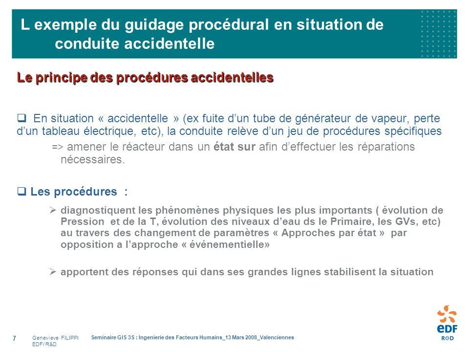 Genevieve FILIPPI EDF/ R&D Seminaire GIS 3S : Ingenierie des Facteurs Humains_13 Mars 2008_Valenciennes 7 L exemple du guidage procédural en situation