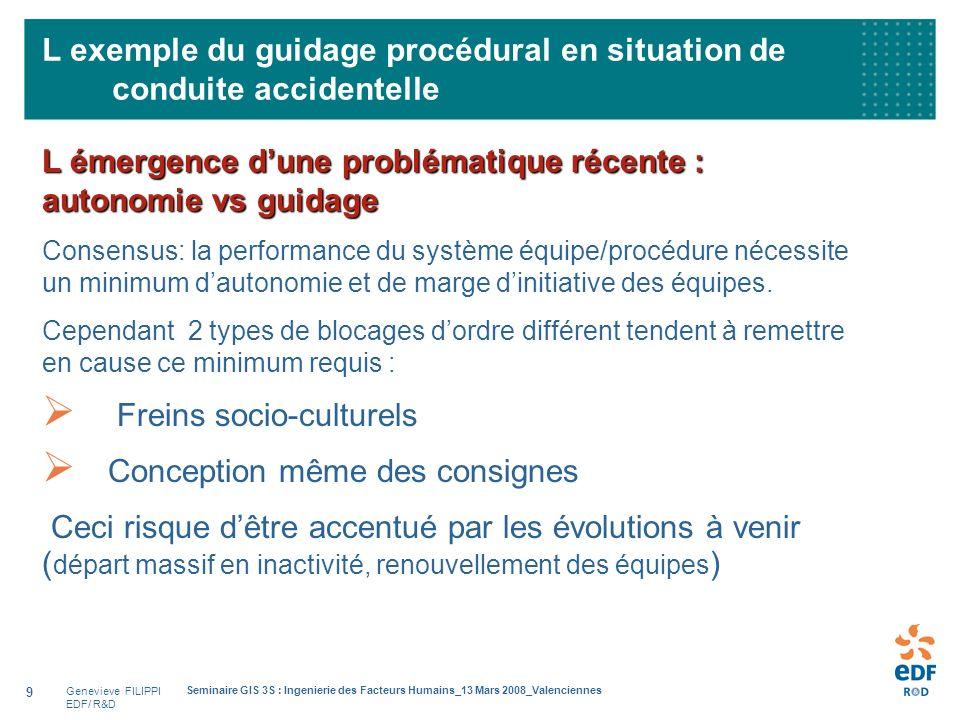 Genevieve FILIPPI EDF/ R&D Seminaire GIS 3S : Ingenierie des Facteurs Humains_13 Mars 2008_Valenciennes 9 L exemple du guidage procédural en situation