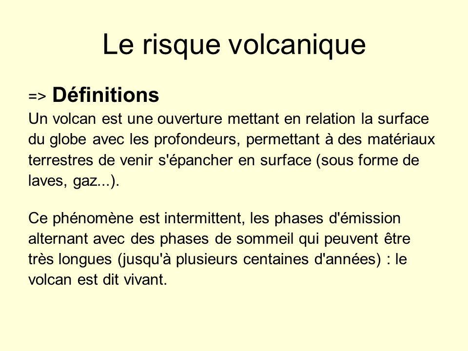 Le risque volcanique => Définitions Un volcan est une ouverture mettant en relation la surface du globe avec les profondeurs, permettant à des matéria