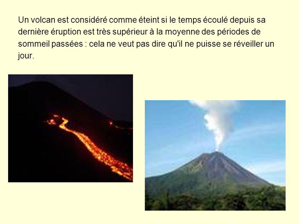 Un volcan est considéré comme éteint si le temps écoulé depuis sa dernière éruption est très supérieur à la moyenne des périodes de sommeil passées :