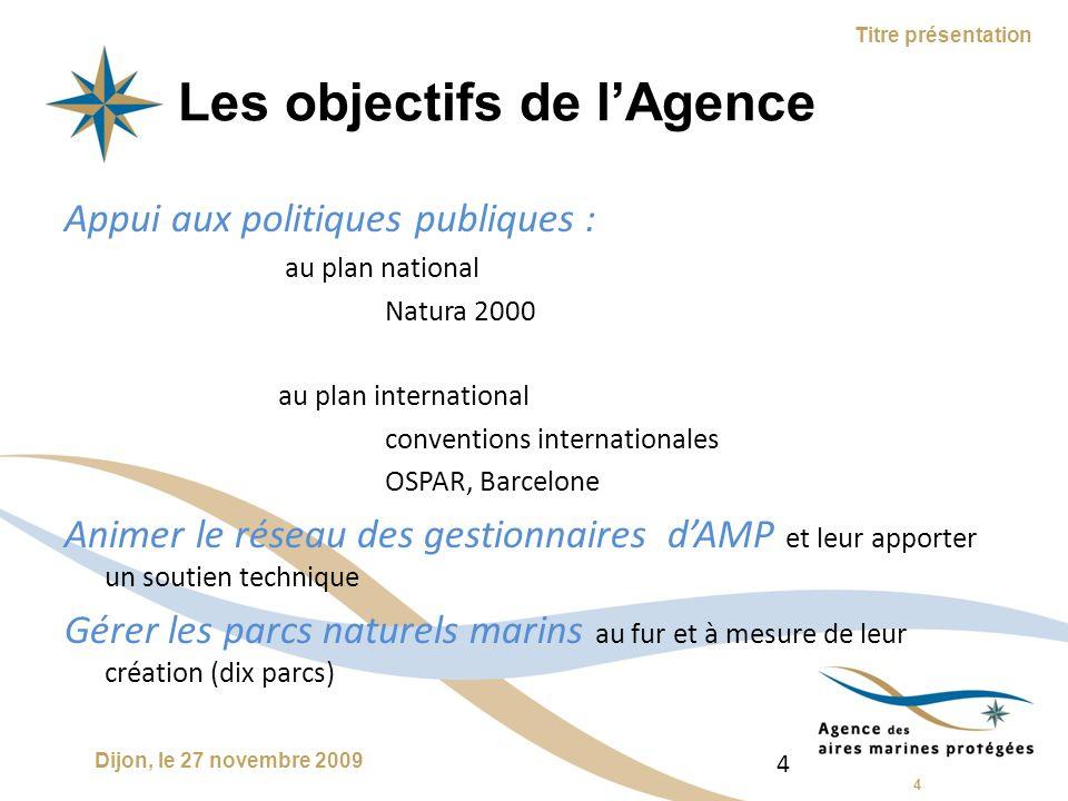 5 Dijon, le 27 novembre 2009 Titre présentation Un parc naturel marin ???.
