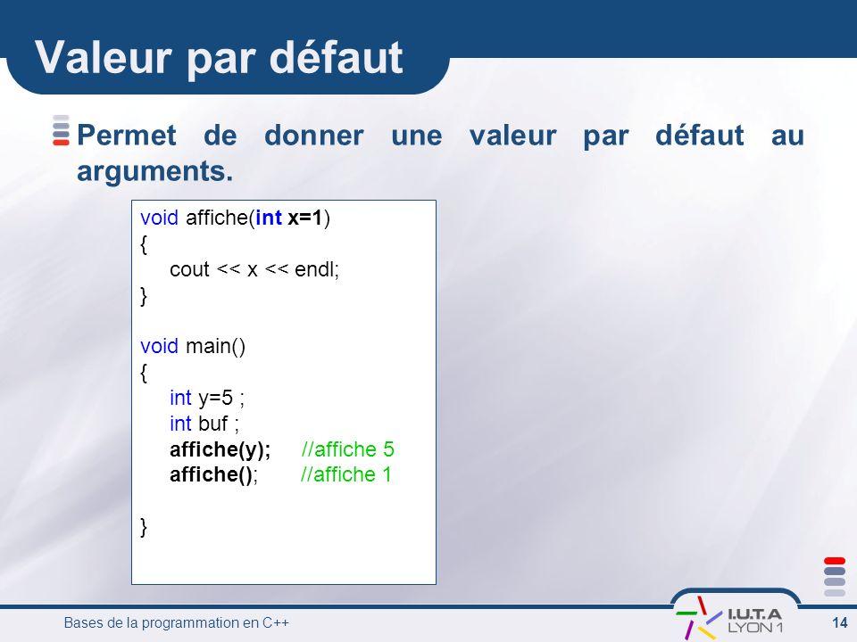 Bases de la programmation en C++ 14 Valeur par défaut Permet de donner une valeur par défaut au arguments. void affiche(int x=1) { cout << x << endl;