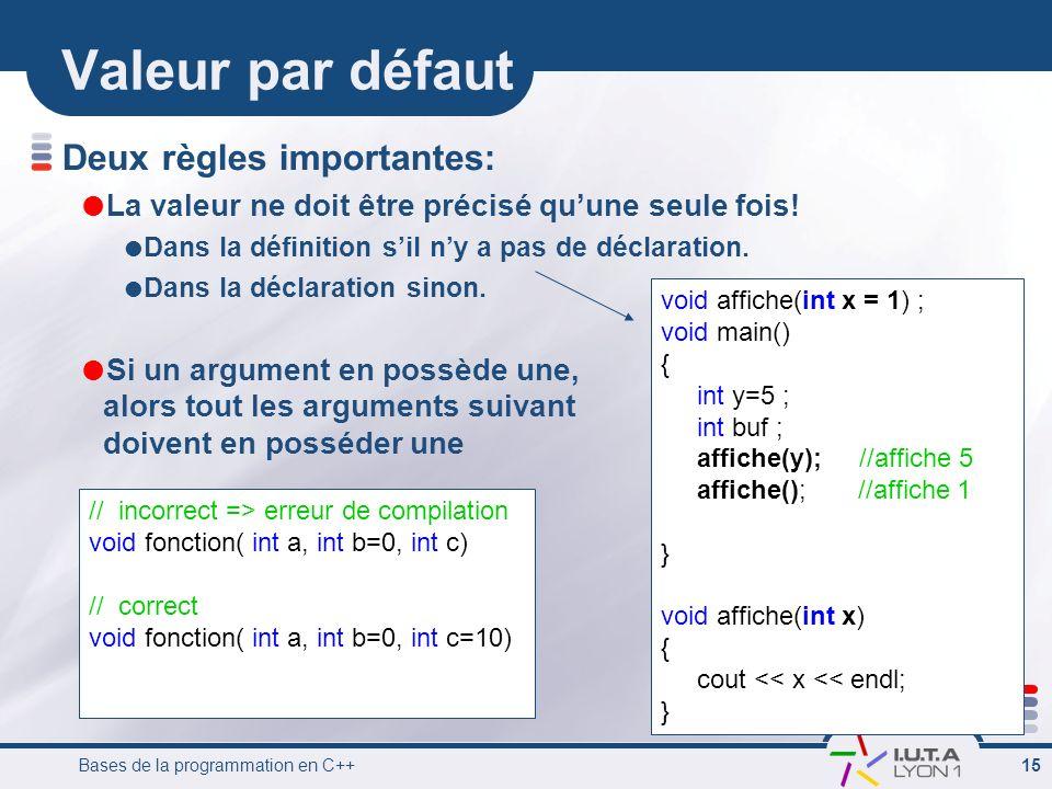 Bases de la programmation en C++ 15 Valeur par défaut Deux règles importantes: La valeur ne doit être précisé quune seule fois! Dans la définition sil