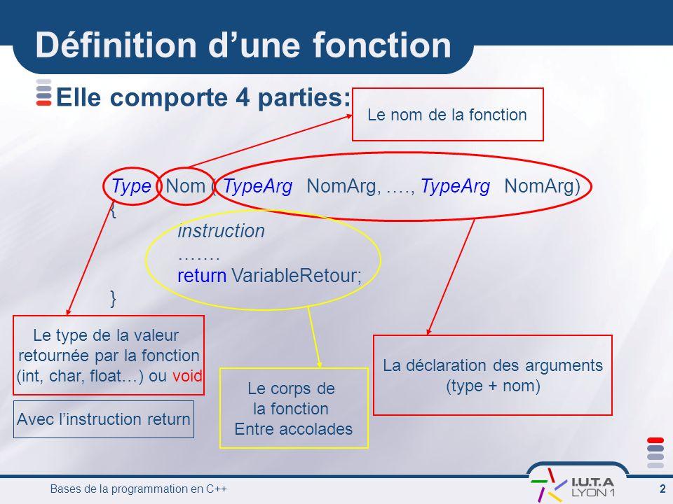 Bases de la programmation en C++ 3 Fonction et procedure Si une fonction ne renvoie pas de valeur cest une procédure.