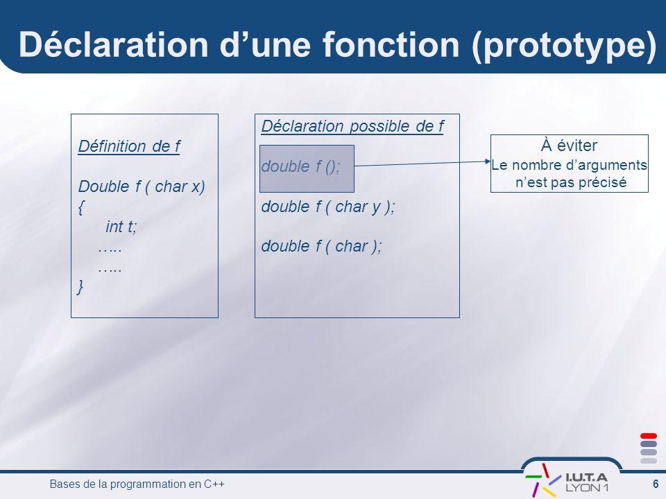 Bases de la programmation en C++ 6 Déclaration dune fonction (prototype) Définition de f Double f ( char x) { int t; ….. } Déclaration possible de f d