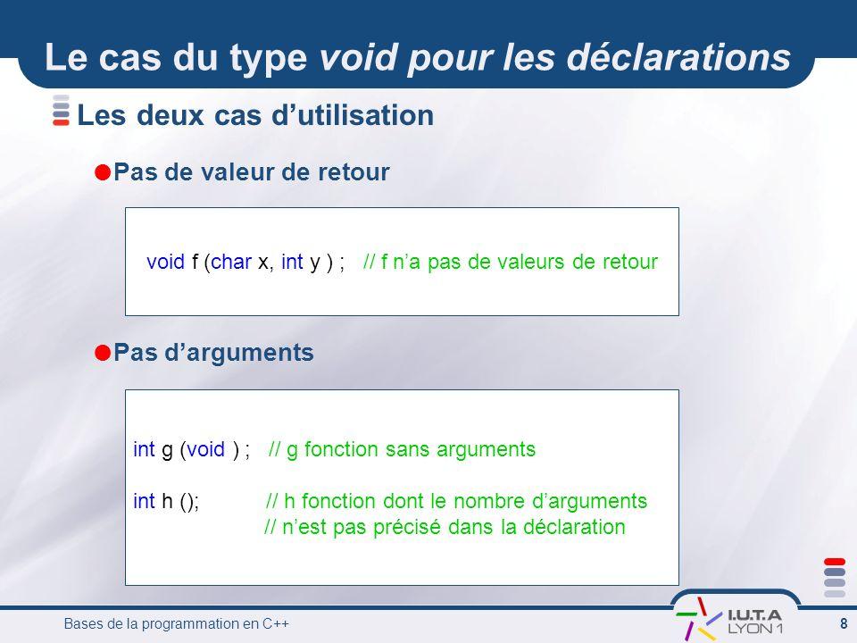 Bases de la programmation en C++ 8 Le cas du type void pour les déclarations Les deux cas dutilisation Pas de valeur de retour Pas darguments void f (