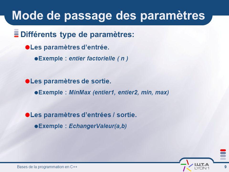 Bases de la programmation en C++ 9 Mode de passage des paramètres Différents type de paramètres: Les paramètres dentrée. Exemple : entier factorielle