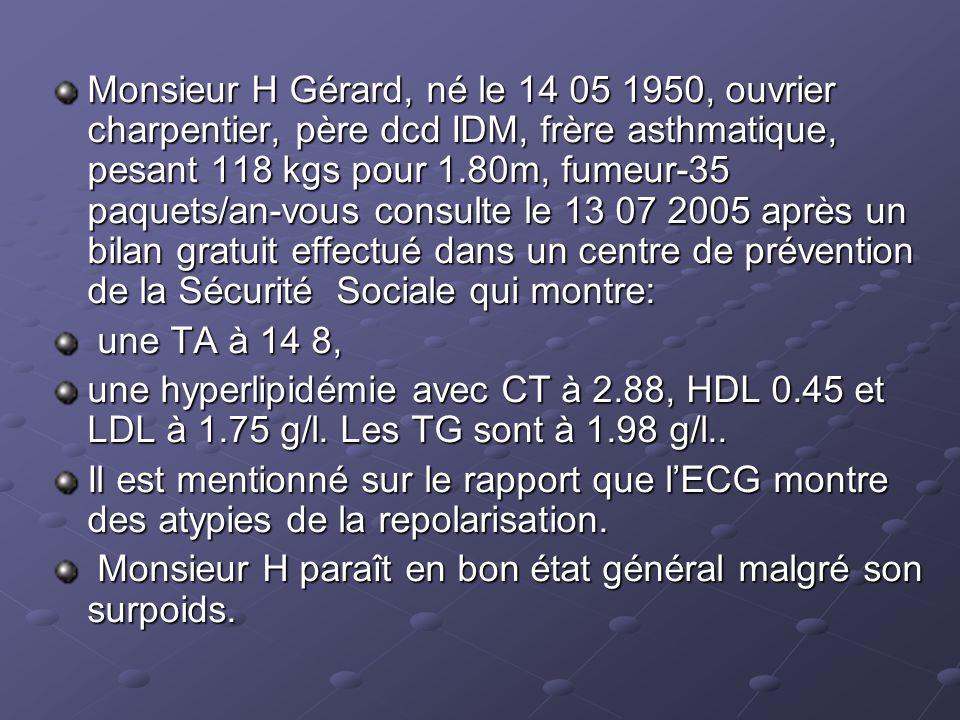 Monsieur H Gérard, né le 14 05 1950, ouvrier charpentier, père dcd IDM, frère asthmatique, pesant 118 kgs pour 1.80m, fumeur-35 paquets/an-vous consulte le 13 07 2005 après un bilan gratuit effectué dans un centre de prévention de la Sécurité Sociale qui montre: une TA à 14 8, une TA à 14 8, une hyperlipidémie avec CT à 2.88, HDL 0.45 et LDL à 1.75 g/l.