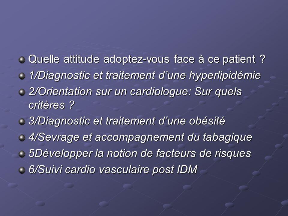 1/Diagnostic et traitement dune hyperlipidémie 2/Orientation sur un cardiologue: Sur quels critères .