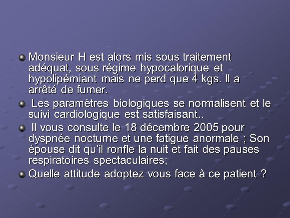 Monsieur H est alors mis sous traitement adéquat, sous régime hypocalorique et hypolipémiant mais ne perd que 4 kgs.