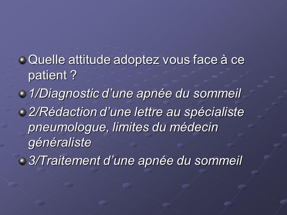 1/Diagnostic dune apnée du sommeil 2/Rédaction dune lettre au spécialiste pneumologue, limites du médecin généraliste 3/Traitement dune apnée du sommeil