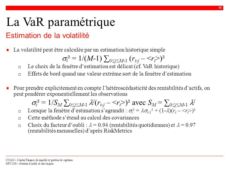 CNAM – Master Finance de marché et gestion de capitaux GFN 206 – Gestion dactifs et des risques 18 La VaR paramétrique Estimation de la volatilité La