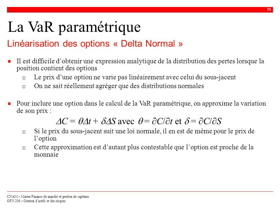 CNAM – Master Finance de marché et gestion de capitaux GFN 206 – Gestion dactifs et des risques 19 La VaR paramétrique Linéarisation des options « Del