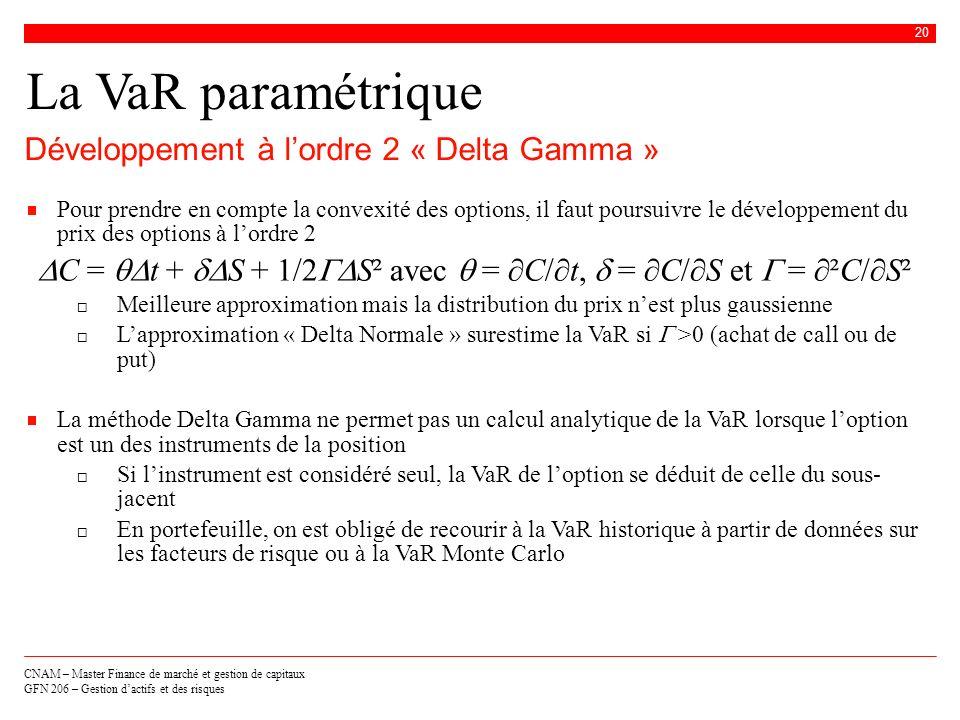 CNAM – Master Finance de marché et gestion de capitaux GFN 206 – Gestion dactifs et des risques 20 La VaR paramétrique Développement à lordre 2 « Delt