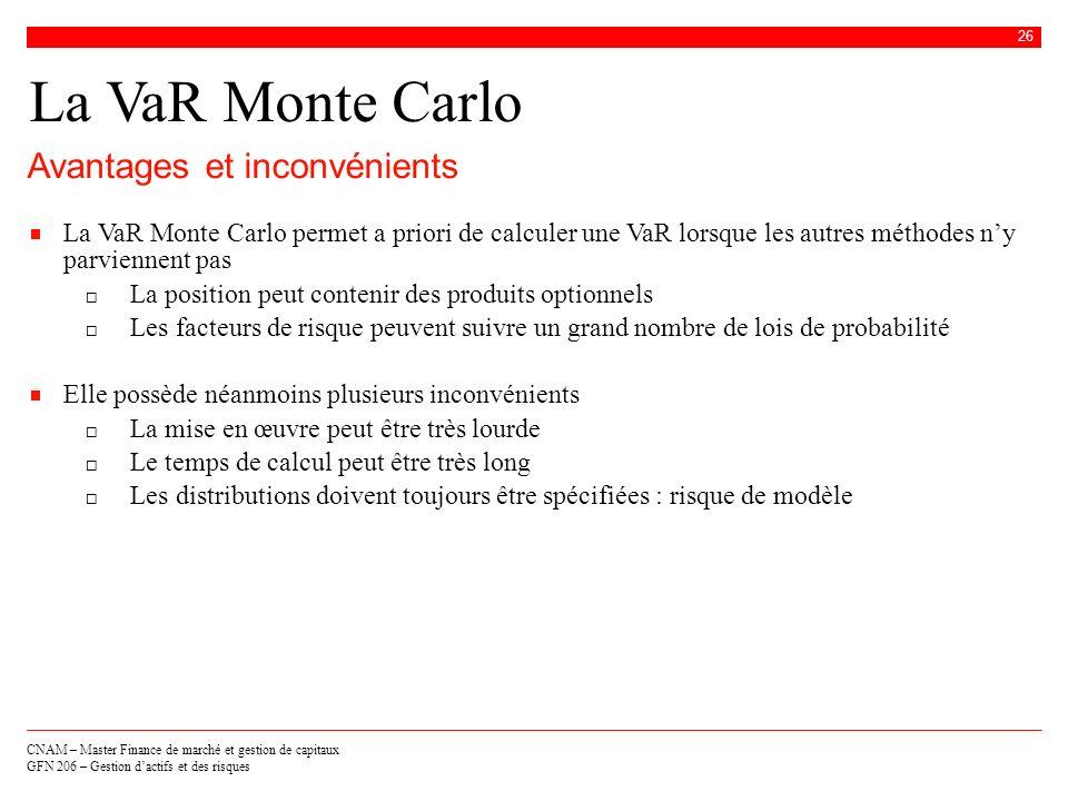 CNAM – Master Finance de marché et gestion de capitaux GFN 206 – Gestion dactifs et des risques 26 La VaR Monte Carlo Avantages et inconvénients La Va