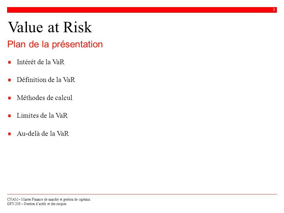 CNAM – Master Finance de marché et gestion de capitaux GFN 206 – Gestion dactifs et des risques 3 Value at Risk Intérêt de la VaR Définition de la VaR