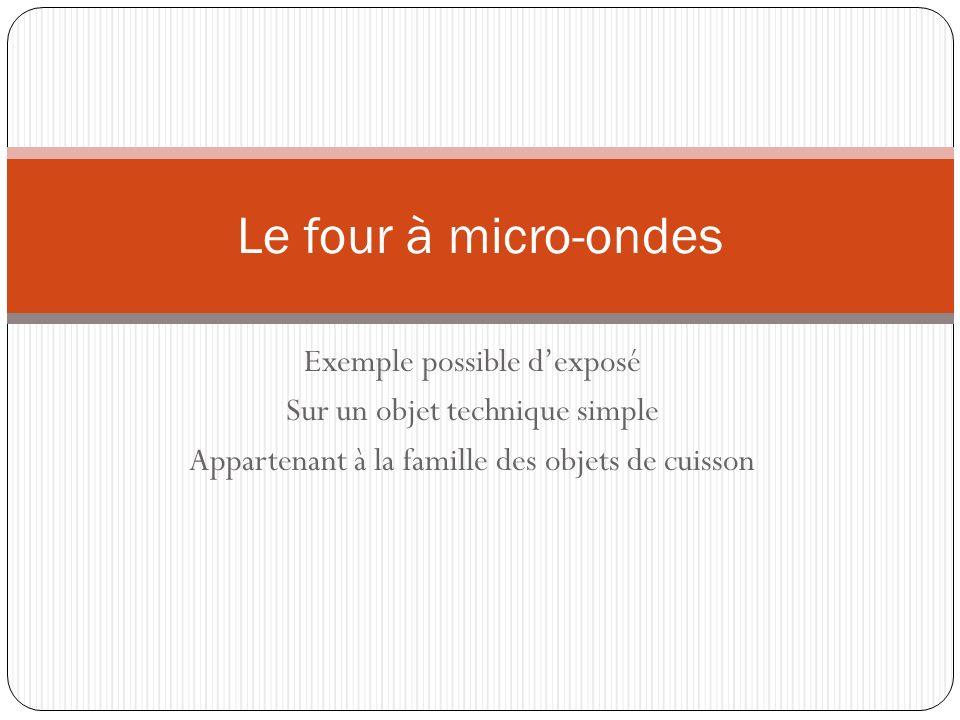 Four à micro-ondes : Le principe technique 1.
