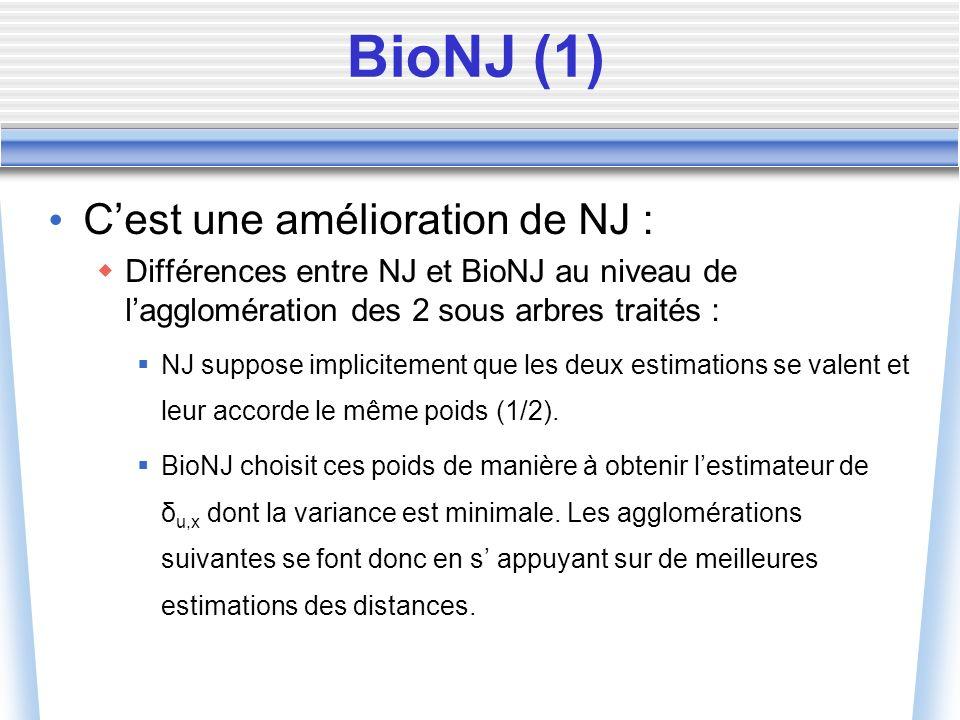 Cest une amélioration de NJ : Différences entre NJ et BioNJ au niveau de lagglomération des 2 sous arbres traités : NJ suppose implicitement que les d
