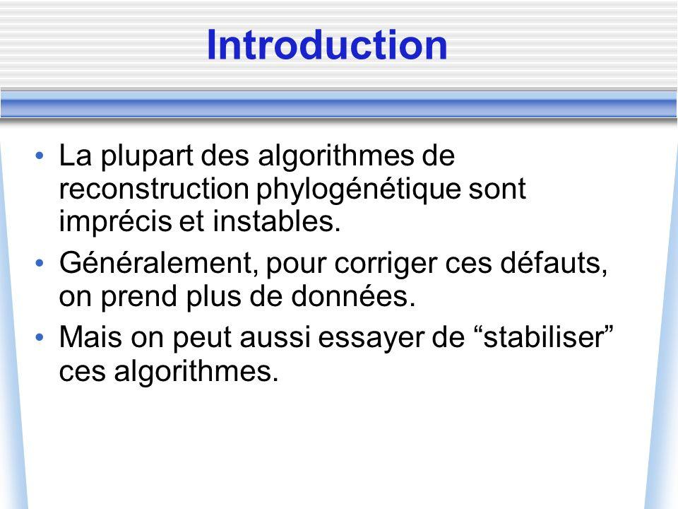 Introduction La plupart des algorithmes de reconstruction phylogénétique sont imprécis et instables. Généralement, pour corriger ces défauts, on prend