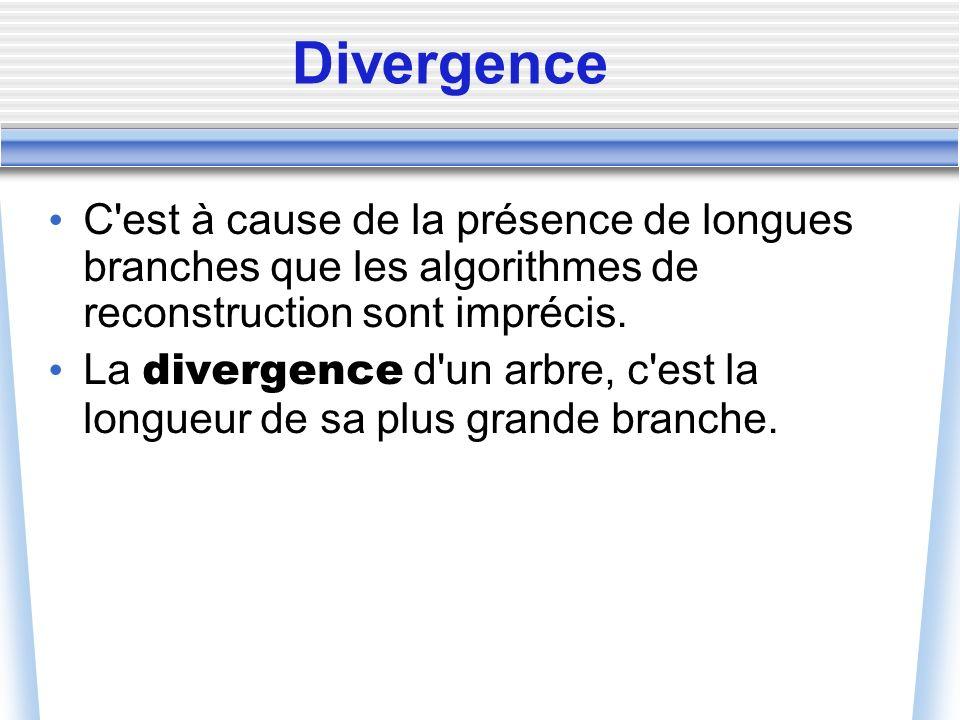 Divergence C'est à cause de la présence de longues branches que les algorithmes de reconstruction sont imprécis. La divergence d'un arbre, c'est la lo
