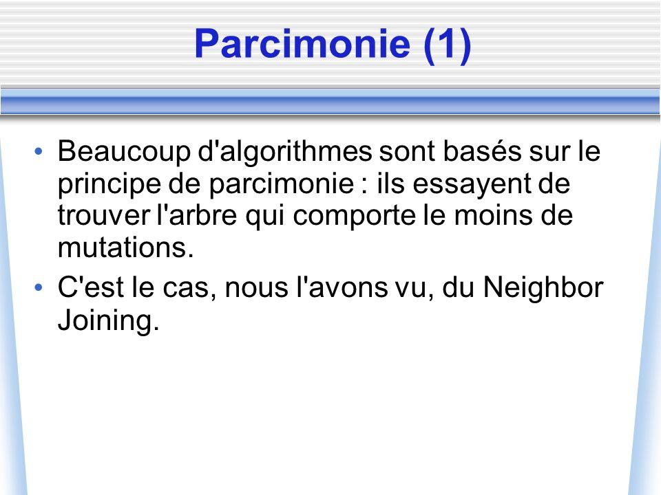 Parcimonie (1) Beaucoup d'algorithmes sont basés sur le principe de parcimonie : ils essayent de trouver l'arbre qui comporte le moins de mutations. C