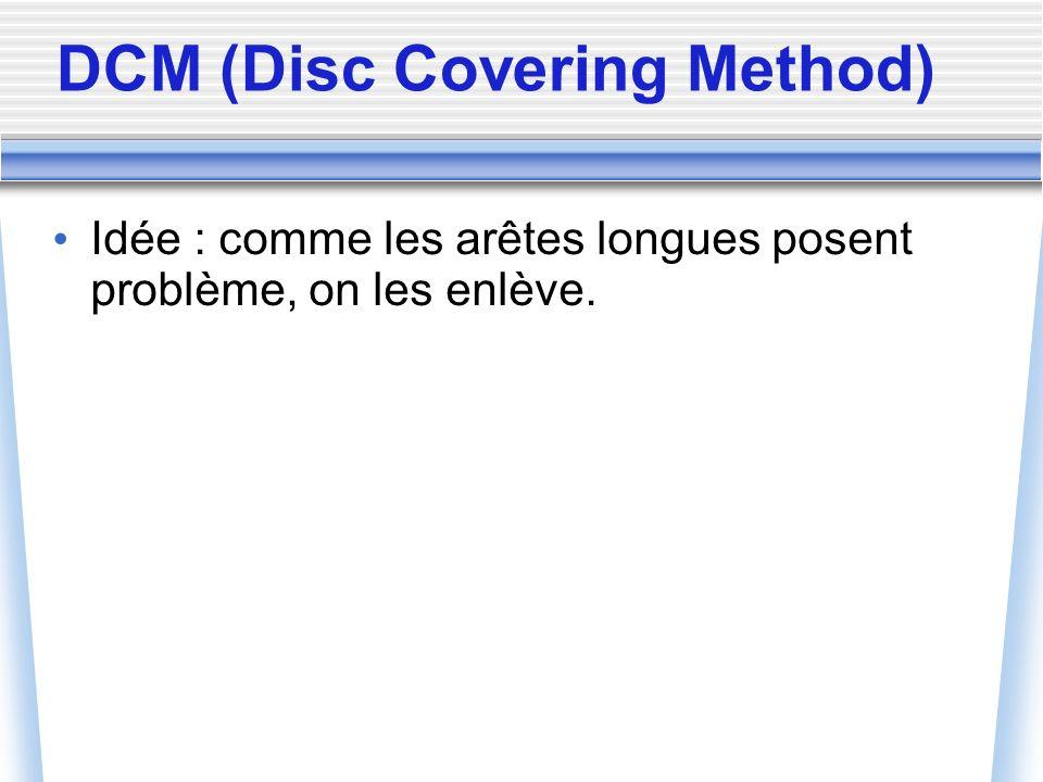 DCM (Disc Covering Method) Idée : comme les arêtes longues posent problème, on les enlève.