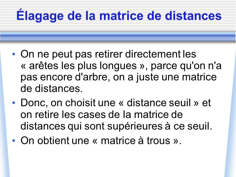 Élagage de la matrice de distances On ne peut pas retirer directement les « arêtes les plus longues », parce qu'on n'a pas encore d'arbre, on a juste