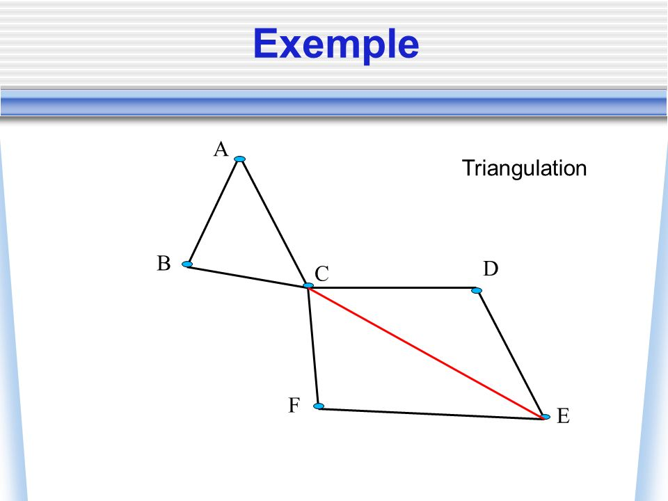 Exemple B C F D E A Triangulation