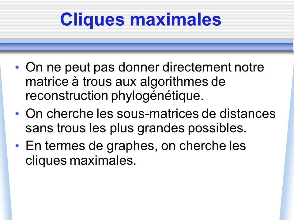 Cliques maximales On ne peut pas donner directement notre matrice à trous aux algorithmes de reconstruction phylogénétique. On cherche les sous-matric