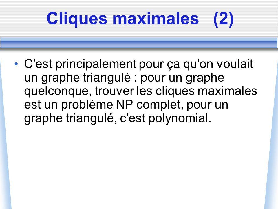 Cliques maximales(2) C'est principalement pour ça qu'on voulait un graphe triangulé : pour un graphe quelconque, trouver les cliques maximales est un